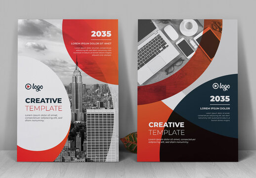 Corporate Book Cover Layout with Orange Gradient Accents