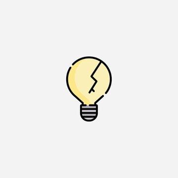 Broken bulb vector icon sign symbol