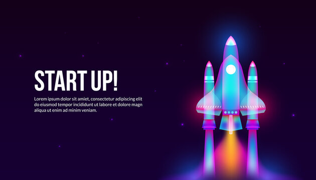 Launching Rocket in fantasy light art style, Rocket flying in space for start up business concept.