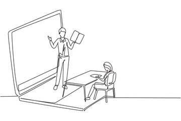 Single one line drawing male teacher standing in front of laptop screen holding book and teaching female junior high school students sitting on benches around desk. Draw design graphic illustration
