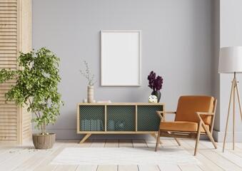Fototapeta Interior poster mock up with horizontal empty wooden frame,Scandinavian style. obraz