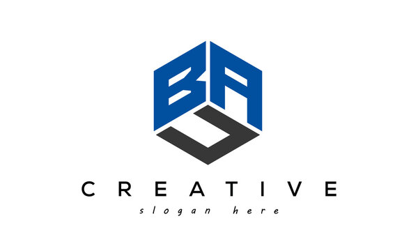 BAC letters creative logo with hexagon