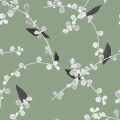 Foliage seamless pattern, white Siamese rough bush leaves and black leaves on green