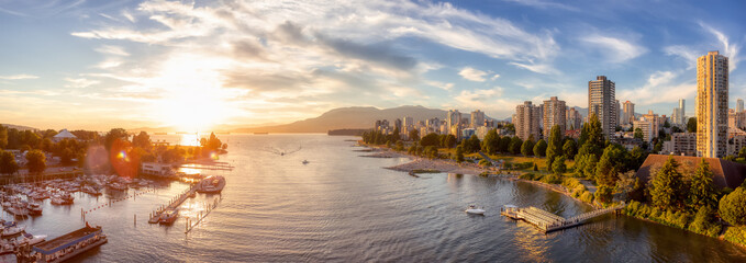 Obraz Aerial Panoramic View of Modern City with a beach on the West Coast Pacific Ocean. Sunny Summer Sunset. False Creek, Downtown Vancouver, British Columbia, Canada. - fototapety do salonu