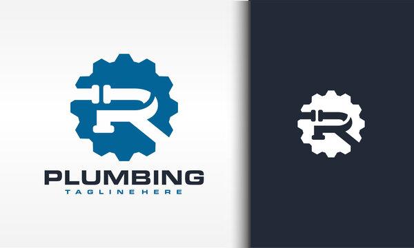 letter R pipe gear logo