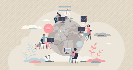 Fototapeta Remote work with distant employee network in internet tiny person concept. Company virtual meeting, information exchange or data sharing with working from home vector illustration. Flexible workplace. obraz