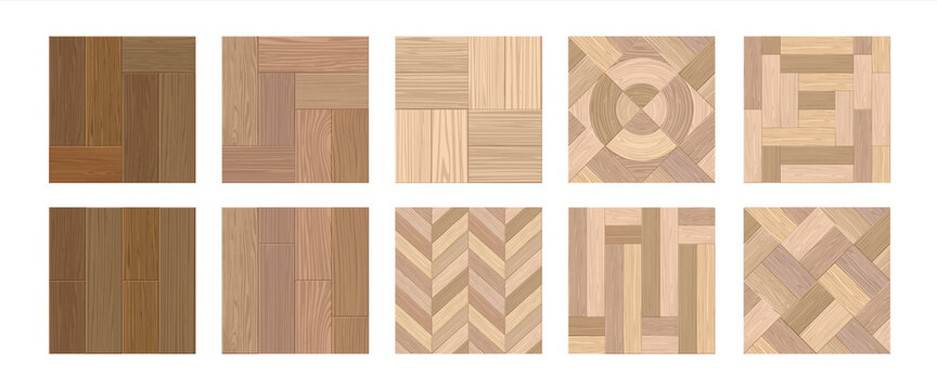 Herringbone floor. Realistic wooden laminate. Interior flooring from natural timber. Decorative hardwood covers with woodgrain. Luxury building oak materials. Vector parquet templates set