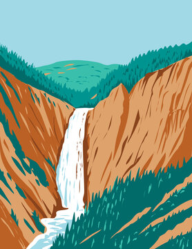 WPA poster art of the Lower Yellowstone Falls within Yellowstone National Park located in Wyoming, United States done in works project administration style or federal art project style.