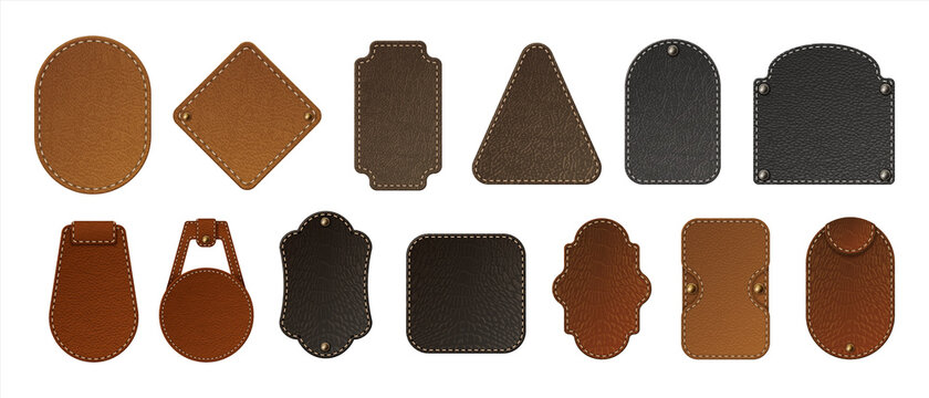 Leather label. Realistic blank badges. Premium bag tags. Jeans patches stitched at edges with copy space. Isolated stickers set for branding. Vector natural or faux calfskin samples