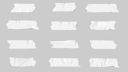 Obraz Realistic adhesive tape collection Sticky scotch tape of different sizes - fototapety do salonu