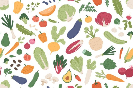 Seamless vegetarian pattern with healthy vegetables and fresh green food on white background. Repeatable texture design with different organic veggies for printing. Colored flat vector illustration