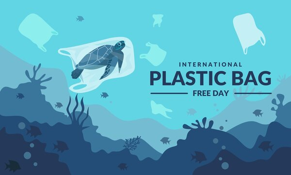 International plastic bag free day, Say no to plastic, Save nature, Save the ocean, world ocean day, Sea turtle in a plastic bag, vector illustration.