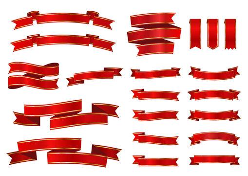 シンプルなバナー・ラベル・リボン 赤地に金帯