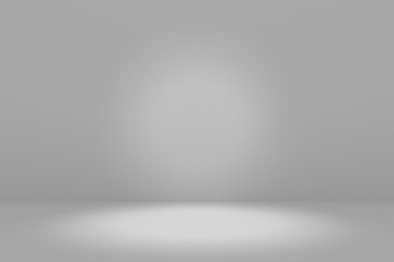 Obraz Blank white gradient background with product display. Empty studio with room floor or white backdrop. 3D rendering - fototapety do salonu
