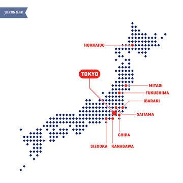 日本地図上の競技会場の所在地:東京・北海道・宮城・福島・茨城・東京・千葉・神奈川・埼玉・静岡(一覧・広域マップ)