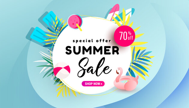 Summer Sale banner, hot season discount poster with flamingo and refreshing cocktail on sea blue background