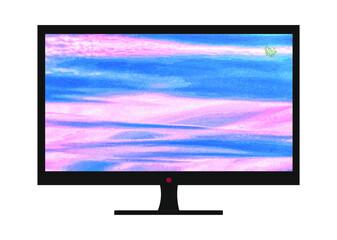 Obraz Grafika przedstawiająca płaski monitor LCD. Tło wykonane na podstawie materiałów własnych autora pracy. - fototapety do salonu