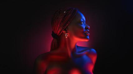 Fototapeta stylish afro girl portrait near pink blue neon light sign. Portrait in cool neon light. obraz