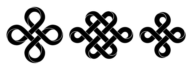 Fototapeta Set of signs made with ribbons intertwined as endless knot and bowen cross. Stylized ancient traditional symbols for tattoo design. Vector illustration. obraz