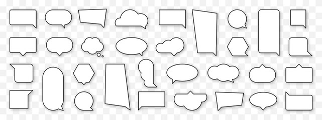 Obraz Blank cartoon speech bubble set. Empty comics cloud sign collection. Thinking, speaking, talking balloon icon. Black and white outline comic style and shape. Isolated vector illustration. - fototapety do salonu