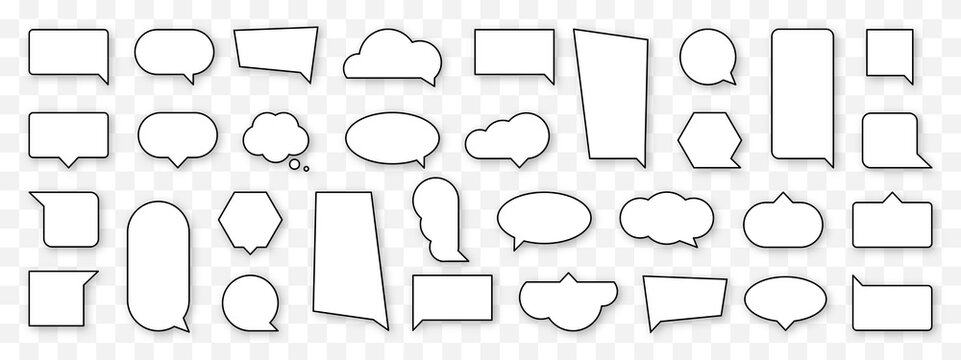 Blank cartoon speech bubble set. Empty comics cloud sign collection. Thinking, speaking, talking balloon icon. Black and white outline comic style and shape. Isolated vector illustration.
