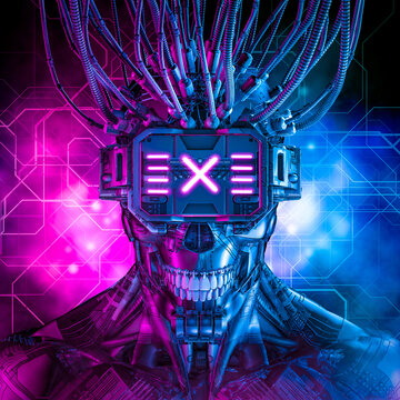Hardwired cyberpunk skull robot / 3D illustration of science fiction cyberpunk skull faced grinning android wearing futuristic virtual reality glasses