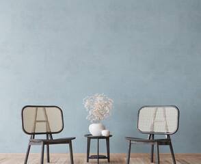 Obraz Boho cozy living room design, bright wall mockup, 3d render - fototapety do salonu
