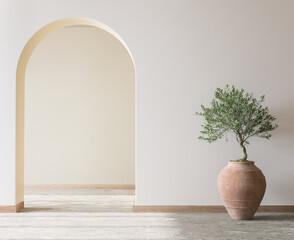 Fototapeta Cozy living room design, bright wall mockup, 3d render obraz