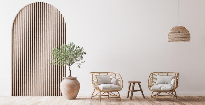 Boho cozy living room design, bright wall mockup, 3d render