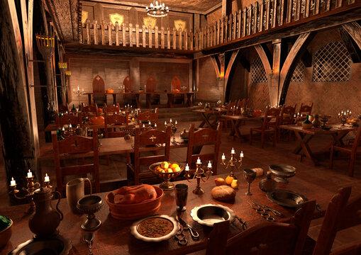 3D Rendering Medieval Great Hall