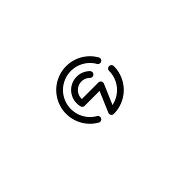 c w cw wc initial logo design vector template