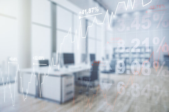 Double exposure of virtual creative financial diagram on a modern furnished office interior background, banking and accounting concept