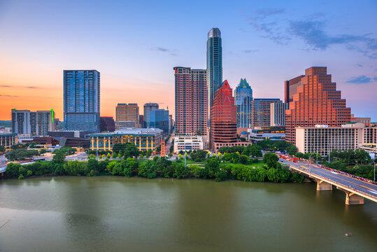 Austin, Texas, USA downtown city skyline on the Colorado River