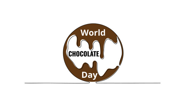 World Chocolate Day July 7. Simply chocolate planet. Minimalist web banner, world chocolate day vector illustration. One continuous line drawing.