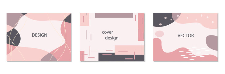 Fototapeta Set of abstract horizontal vector backgrounds in pink colors in trendy memphis style obraz