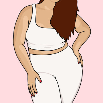 Woman with a white gym outfit