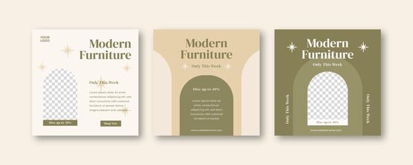 Obraz Furniture instagram social media post template - fototapety do salonu