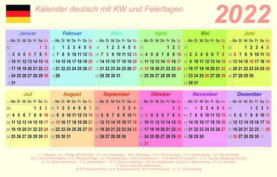 Kalender 2022 - bunt - quer - deutsch - mit Feiertagen (85 x 54 mm)