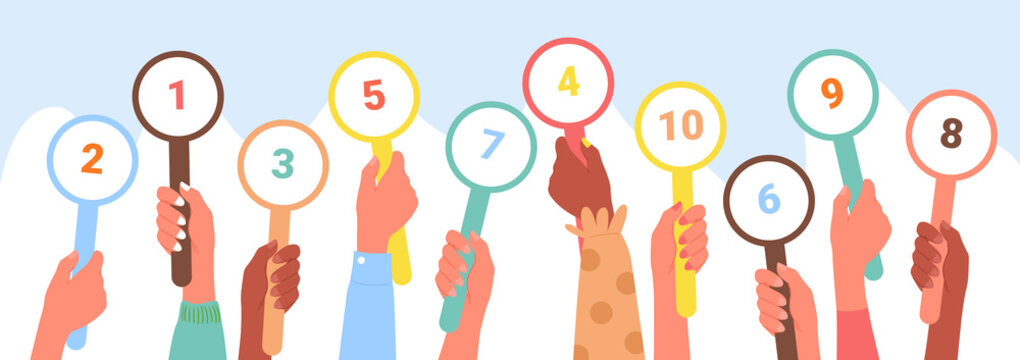 Scorecard customer review rating, client feedback service concept vector illustration. Cartoon diverse client hands rate and vote in row, holding up round grade card with ranking numbers background