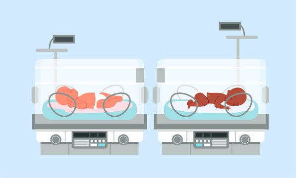 Preterm baby incubator with infants, neonatal intensive therapy vector illustration. Cartoon medical neonatologist equipment for care treatment of premature newborns, neonatology medicine background