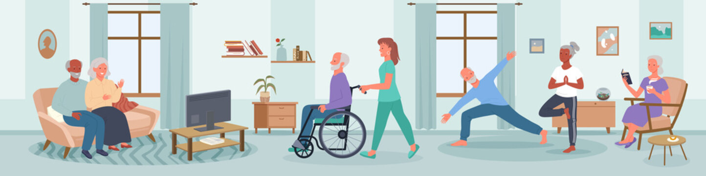 Elderly people care in nursing home vector illustration. Cartoon happy senior man woman characters do yoga sport exercises, read books in room interior, disabled person in wheelchair with nurse