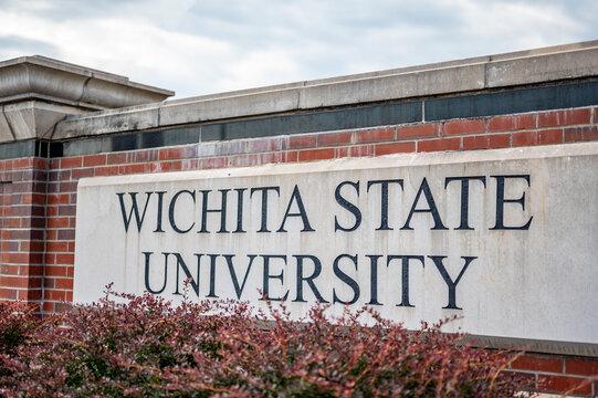 Wichita, Kansas, USA: 6-2021: Main entrance sign to Wichita State University central campus