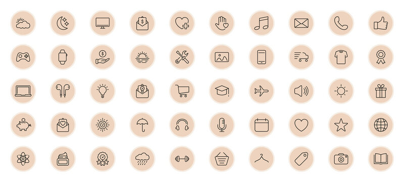 Highlights Line Icon Set. Highlights for Lifestyle, Travel and Beauty Bloggers, Photographers and Designers. Stories Covers Contain Weather, Finance, Education, Fitness topics. Vector illustration