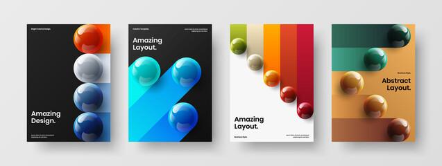 Fototapeta Bright realistic balls poster illustration collection. Vivid handbill A4 design vector template set. obraz