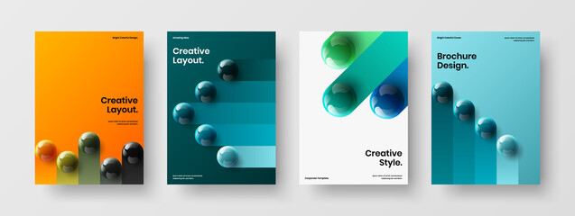 Obraz Multicolored realistic balls corporate brochure template set. Bright magazine cover A4 vector design layout composition. - fototapety do salonu