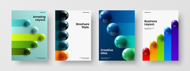 Fototapeta Simple cover A4 vector design illustration bundle. Clean 3D balls poster layout composition. obraz