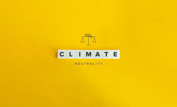 Climate or Carbon Neutrality Banner and Concept. Block letters on bright orange background. Minimal aesthetics.