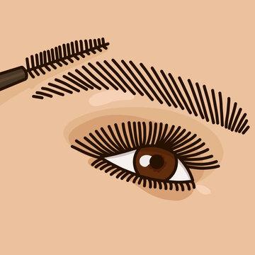female eye and mascara