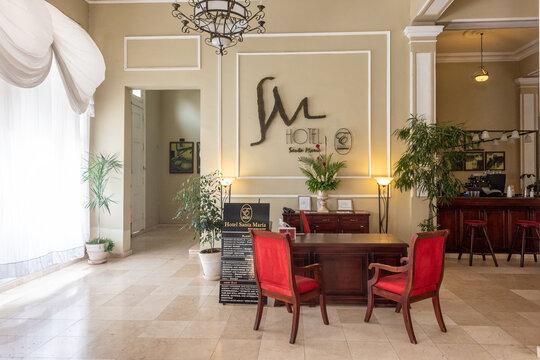 Reception of the Hotel Encanto Santa Maria in Camaguey, Cuba