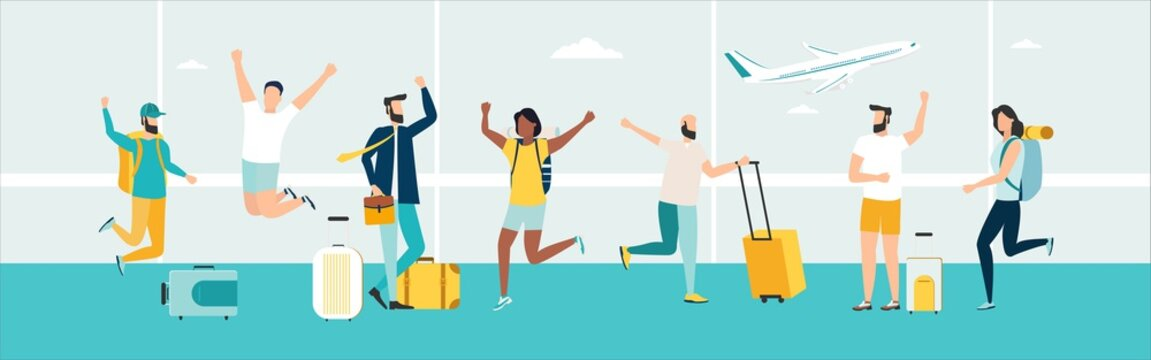 Travel. People at the airport fly on a journey. Summer rest. Happy inviting people. Vacation with friends. Vector illustration.